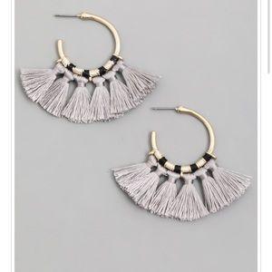 Gray Tassel Hoop Earrings